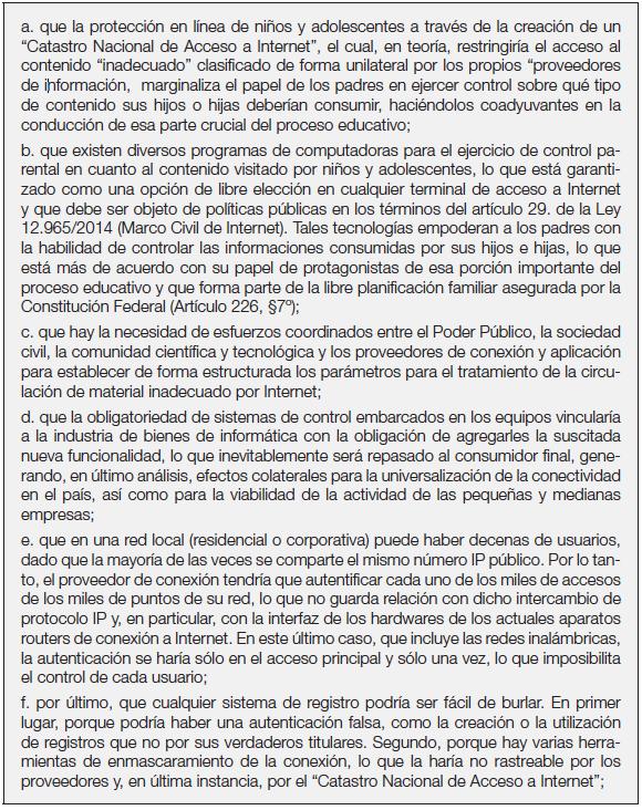 """Posición del Comité Gestor de Internet do Brasil contraria   a los proyectos de Ley """"Registro Nacional de Acceso a Internet"""""""